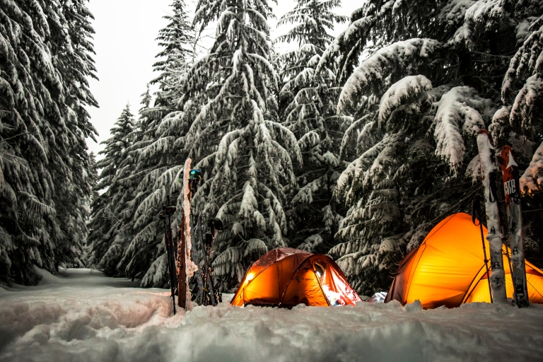 cascades-tents-camping-winter-snow-skis-forest