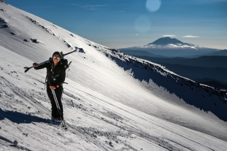 Khadijah with Mount Adams in the background.