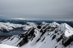 The crater with Mount Rainier in the background! There's a new peak rising in this crater...