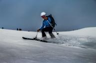 Khadijah skiing down!